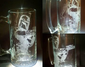 Boba Fett Star Wars Etch Engraved  25oz Beer Mug 16oz 23oz Drinking Glass with optional Bounty Hunter Logo or Personalized