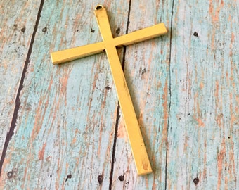 Cross Antiqued Shiny Gold Large Pewter Pendant Jewelry Supply