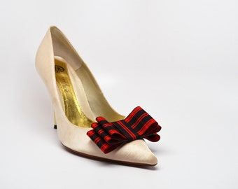 Bow Shoe Clips Set Of Two Plaid Tartan Red and Black