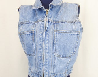 90s Denim Vest, Women's Size Small, Zip Up Jean Vest, 1990s Grunge, Light Wash Denim, Sleeveless Denim Top, Niki Lee California