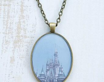 Cinderella's Castle Necklace | Disney World | Magic | Jewelry | Antique Bronze Silver | Wearable Art Photography | Oval | Dreams