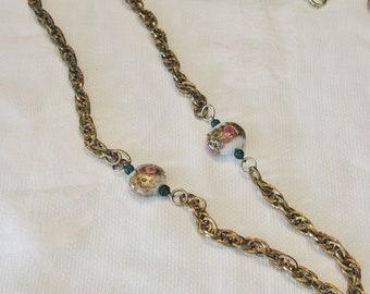 Wedding Cake Beads on Chain.....Vintage Wedding Cake Beads on Heavy Chain