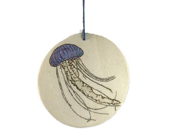 Jellyfish Ornament Hand Burned And Embellished