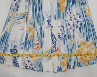 Vintage Novelty border skirt French Circus Acrobats Cirque du Soleil Full skirt blue on white skirt Kit Cornett cotton skirt twirl skirt
