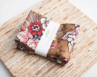 Large Cloth Napkins - Set of 4 - (N5858) - Cocoa Red Florals Modern Reusable Fabric Napkins