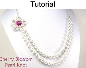 Beaded Flower Pearl Knot Necklace - Jewelry Making Beading Pattern - Simple Bead Patterns - Cherry Blossom Pearl Knot #5323