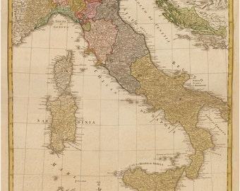 Italy, Vintage Map, Giclee Map Print, Italy Map, Map Art, Historic Map, Old Map, Map Art Prints, Map Wall Art, Map Room Decor, Italian Map