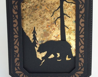 3D Handmade Silhouette Bear Card, Unique Father's Day Card, Hand Made Masculine Card, Unique Man's Card, Hand Made Card, Personalized Card