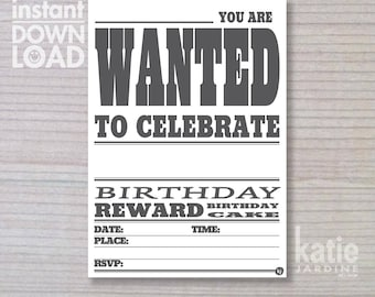 instant invitation -  boys invitation - wanted invitation - childrens invitation  - downloadable invite - white paper invite
