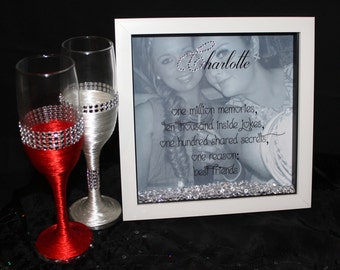 Christmas Personalised HQ Box Frame Print Best Friend Gift Photo Birthday Diamantes FR1
