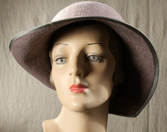 Assymetrical Brimmed Ladies Hat in Gray Wool - Tri-Color Ombre Hat in Gray - Hat With Half Bow - Wool Felt Hat - Wool Hat