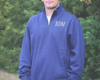 Men's Monogrammed 1/4 Zip Sweatshirt/Men's Quarter Zip Pullover