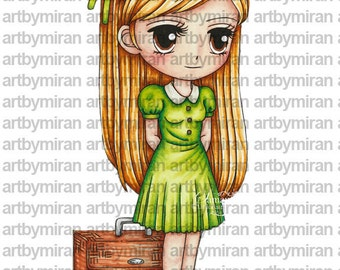 Digital Stamp-Traveling Torrie(#118), Digi Stamp, Coloring page, Printable Line art for Card and Craft Supply