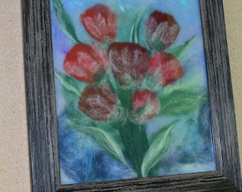 Bouque of tulips. Beatuful flowers. Wool painting .  Painting from wool.