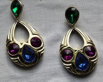 Vintage 1990's ,oversize, jeweled, pierced earrings