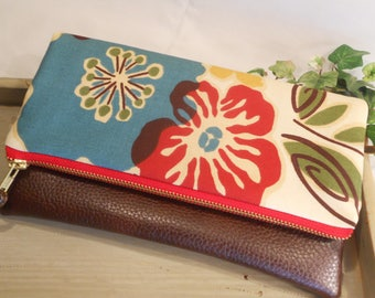 """Foldover Cotton CLUTCH...with Faux """"Leather"""" Accent...Perfect for Bridesmaids...will hold iPad Mini or Kindle"""