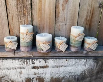 Molten Spark Scented Designer Gray Round Pillar Candles - Spicy Citrus Scented Candles