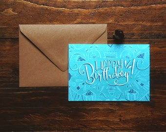 Blank Inside Birthday Card Teal