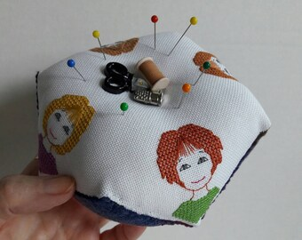 Friends Who Stitch cross stitch pincushion pattern by Cherry Parker