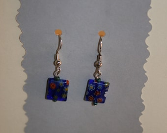 Silver Earrings with Hippie Blue
