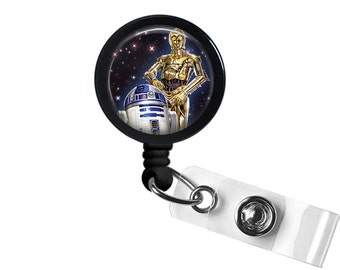 Star Wars R2D2 C3PO Photo Glass/ Bottle Cap Retractable ID Badge Reel