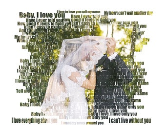 Word Art. Text Art. Custom Photo Gift Portrait On Canvas Wedding Vows Song Lyric Gift 16x20