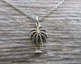 "Sterling Silver Palm Tree charm necklace, 18"" cable chain with clasp tropical beach jewelry choose chain"