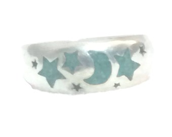 Vintage Sterling Silver Ring  Stars Moon Ring Stars Ring Moon Ring Stars Moon Band Moon Band Stars Band Moon Band Celestial Ring Pinky Ring