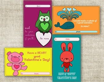 VALENTINE'S DAY Card Pack Owl Bear Bunny Whale School Class Children School Valentines Day Pack 3x5 - 89492196