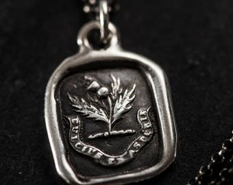 Sweeter after difficulties Thistle necklace wax seal jewelry - Dulcius ex asperis - Scottish Thistle Jewelry - 154