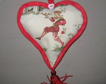 Heart cushion vintage textile