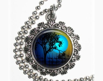 Tree and Blue Moon Art Pendant, Whimsical Night Resin Photo Pendant