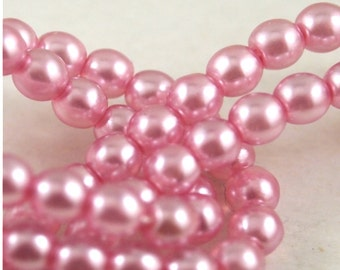 4mm Druk Beads-Pearl Lights Pink Champagen-Qty 50 (CZ 4D PC)