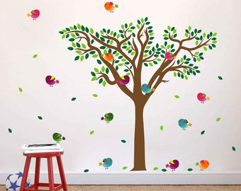 Tree wall decal birds Wall Decals Tree Decal for Nursery Wall Decal for Baby Nursery Decor kcik1777
