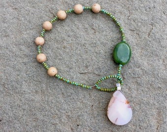 River-stone jasper with moss agate and faceted jasper teardrop prayer bracelet- Anglican/ Protestant rosary bracelet
