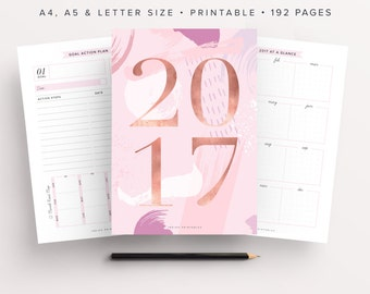 2017 Planner, Goal Planner, Monthly Planner 2017, Weekly Planner 2017, Success Planner, Bullet Journal, 2017 Inserts, Printable, 2017 Agenda