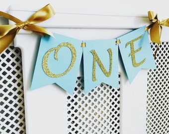Highchair banner. High chair banner. Blue and gold. Smash cake. First birthday banner. Boy.