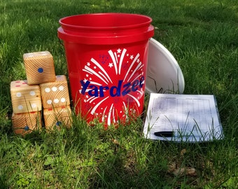 Yardzee, Farkle, Patriotic Yardzee,  fourth of July Yardzee, Lawn dice, Yard dice, Lawn Game, family game, outdoor game, Family fun