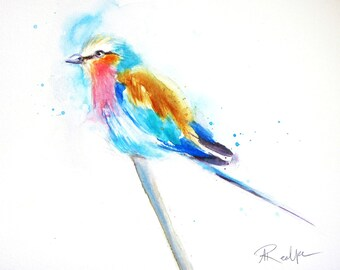 Lilac Breasted Roller Watercolor Art, Original Artwork, Original Watercolor Painting, Bird Art, Bird Artwork, Bird Lover Gift, Bird Painting