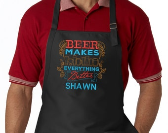Personalized Beer Makes Everything Better Embroidered Apron