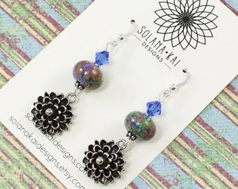 Blue Flower Earrings for Her |  Lampwork Earrings for Women |  Flower Earrings For Her | Blue Crystal Long Earrings | Solana Kai Designs