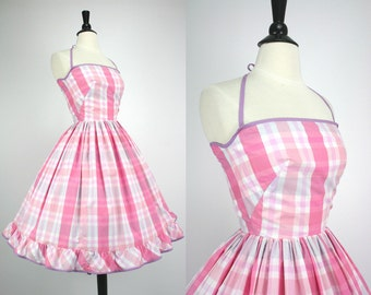 Vintage 60s Dress Pink & White Plaid Full Skirt Sundress 'Wallis Fashion Shops' Back Ties or Halter Cotton Blend early 1960s Party Dresses