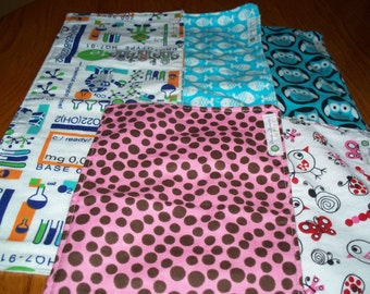 BURP CLOTHS in RECTANGLES - Matching Flannel On Both Sides