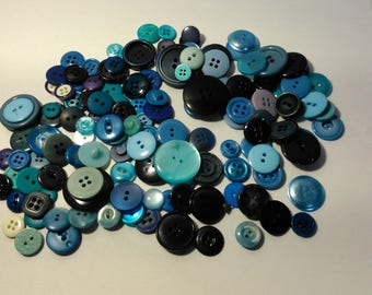 Blue buttons - sewing - crafting - set 1