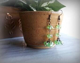 Long green vintage style earrings
