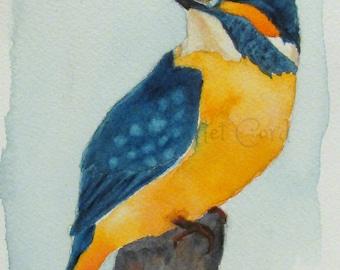 ACEO Kingfisher Watercolor Print, Art Card, ATC, Bird Watercolor, Miniature Painting, Bird Print, Nature Wall Decor, Collectible Art,