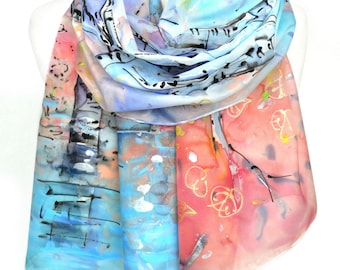 Hand Painted Scarf. Bridesmaid Gift. Elegant Fashion Scarf. Gift idea for her. Silk Painting. Handmade Scarf. Silk Shawl 18x71in MADEtoORDER