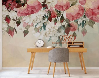 Large Peony Flowers Mural, Self-adhesive Wallcoverings, Vintage Watercolor Floral Wallpaper, Nursery Decor, Wall Mural Art, Wall Stickers