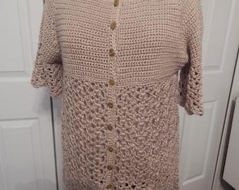 hand crocheted cardigan tunic