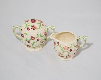 Vintage Sugar Bowl and Creamer Set Ceramic Hand Painted Maroon Flowers